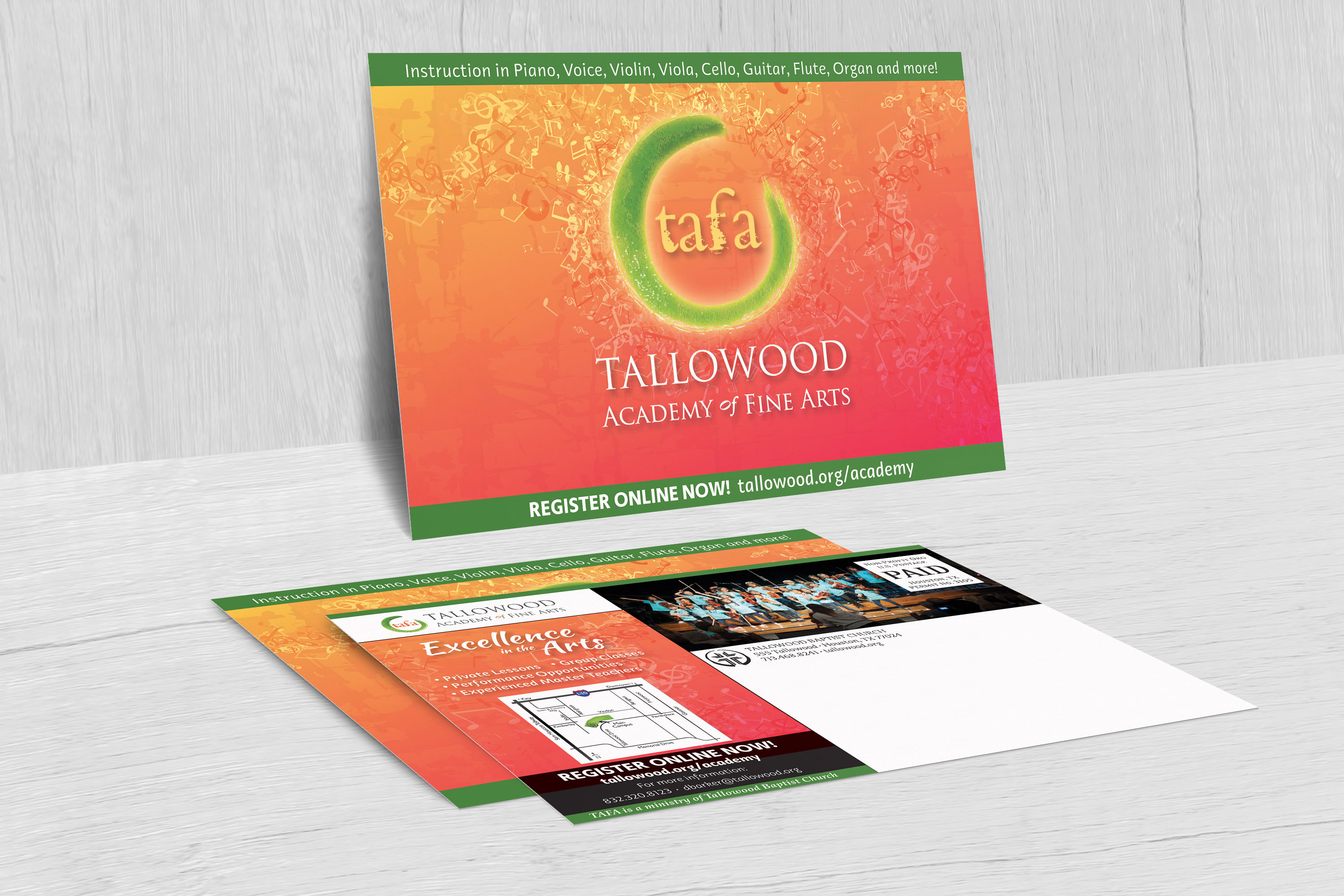 Postcard design- Tallowood Fine Arts Academy